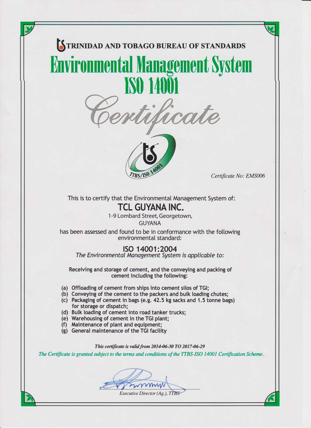 TTBS Certificate